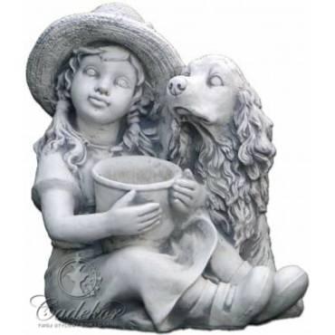 Dziewczynka i Cocker Spaniel - figurka ogrodowa