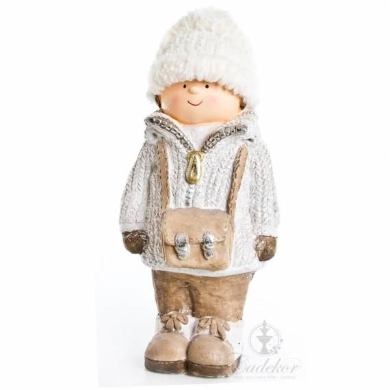 Ceramiczna figurka chłopiec z torbą