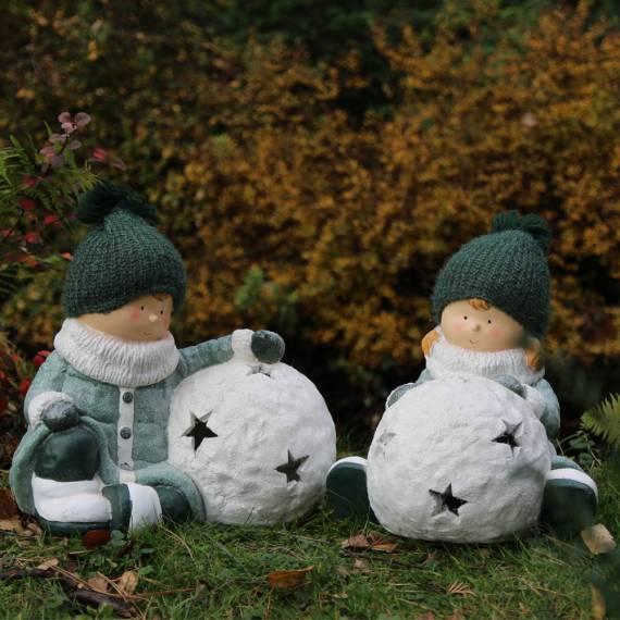 Para dziewczynka i chłopiec z kulką śniegu 33 cm – komplet