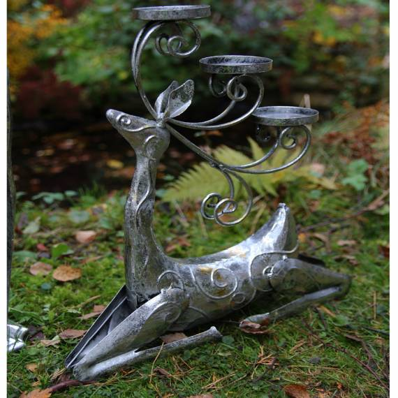 Renifer świecznik – metalowy 38,5 cm