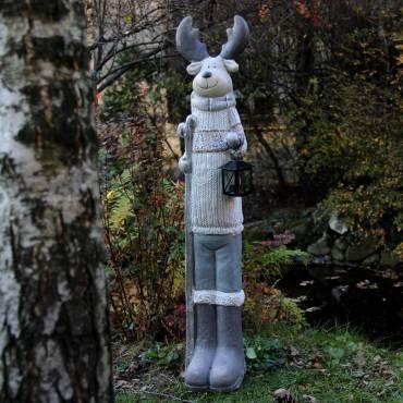 Renifer stojący z lampą 95 cm
