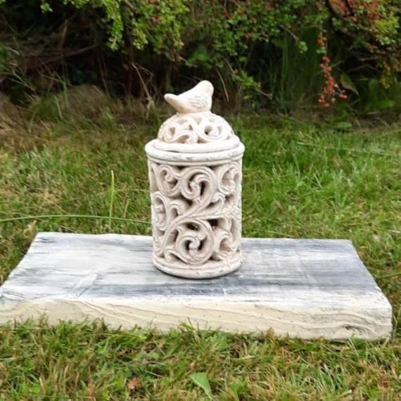 Lampion ceramiczny z ptaszkiem ecru 24 cm