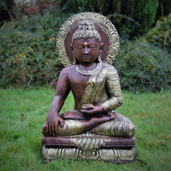 Złoty Buddy Phra Phuttha w Wat medytujący 55 cm
