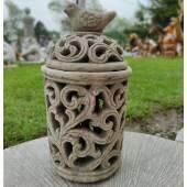 Lampion ceramiczny z ptaszkiem szary duży 29 cm